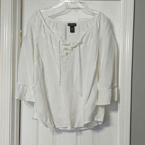 Linen/rayon poet shirt